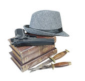 Murder Mystery Books Gun Knives Hat — Stock Photo