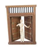Opening Wooden Castle Door with Wooden Bar Lock — Stock Photo