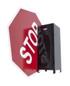 Stop Sign Next to a Locker — Stock Photo