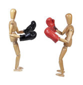 Two People Sparring with Boxing Gloves — Stock Photo