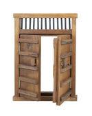 Wooden Castle Door with Wooden Bar UnLocked — Stock Photo