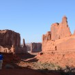 Young Woman Photographing Park Avenue in Arches National Park — Stock Photo