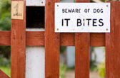 Beware of dog sign — Stock Photo