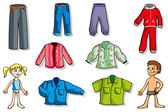 Set of children clothes — Stock Vector