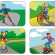 Children on wheels — Stock Vector