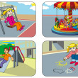 Stock Vector: Children in playground