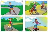 Children on wheels — Stock Vector