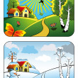 Winter and summer landscape — Stock Vector