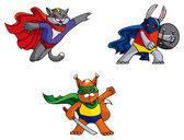 Funny animals superheroes, cat, rabbit and squirrel, mock vector illustration — Stock Vector