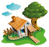 Cozy village house — Stock Vector