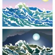 Blusterous sea — Stock Vector