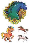 Horses — Vector de stock