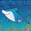 Funny cartoon shark in the sea — Stock Vector