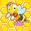 Funny bee with honeycomb — Stock Vector
