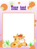 Frame with funny orange cow — Stock Vector