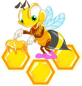 Funny bee on the honeycomb — Stock Vector