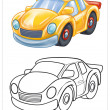Coloring of yellow car — Stock Photo