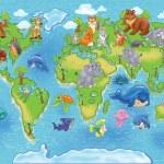 野生动物世界地图 — 图库照片
