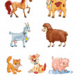 Cute cartoon farm animals — Stock Photo