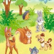 Cute cartoon animals in forest — Stock Photo