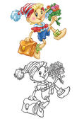 Coloring of pinocchio goes to school — Zdjęcie stockowe