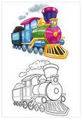Coloring little train — Stock Photo