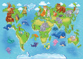 Wild animals world map — Stock Photo