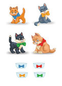 Collection of Cute Cartoon Cats — Stock Photo