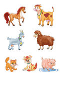 Cute cartoon farm animals — Stock Photo