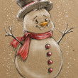 Sketch style christmas snowmen — Stock Photo