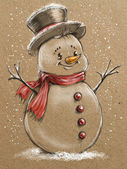 Sketch style christmas snowmen — Stock Photo