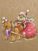 Sketch hand draw Santa in sleigh — Stock Photo