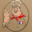 Sketching style illustration of french chef — Stock Photo