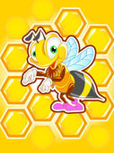 Background with honeycomb and funny bee — Stock Photo