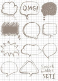 Speech bubbles Sketch style on notebook background — Stock Vector
