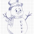 Stock Vector: Hand drawn snowmen on notebook list