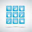 Food icons. set 1. blue — Stock Vector #32318989