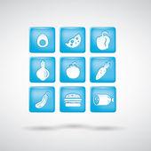 Gıda simgeler. 1 ayarlayın. mavi — Stok Vektör