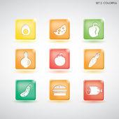 Icone di cibo. set 1-1. colorato — Vettoriale Stock