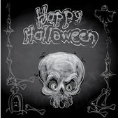 Halloween skull with doodles on chalkboard — Stock Vector
