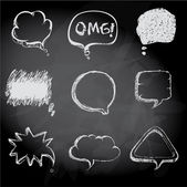 Speech bubbles Sketch style on chalk board background — Vecteur