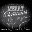 Merry Christmas sign vintage sketch style with snowmen at grunge chalkboard — 图库矢量图片