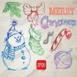 Christmas retro sketch doodles on old paper background — Stock Vector #33055851