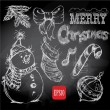 Christmas retro sketch doodles on chalkboard background — Stock Vector #33055895