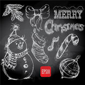 Christmas retro sketch doodles on chalkboard background — Stock Vector