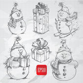 Sketching style snowmen and christmas gift boxes doodles — Stock Vector