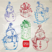 Sketching style colorful snowmen and christmas gift boxes doodles — Stock Vector