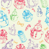 Christmas seamless colorful sketch doodles pattern — Stock Vector