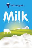 有机牛奶标签 — 图库矢量图片