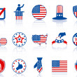 Election icons and buttons — Stock Vector